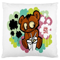 Bear Cute Baby Cartoon Chinese Large Flano Cushion Case (two Sides) by Nexatart