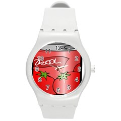 Beverage Can Drink Juice Tomato Round Plastic Sport Watch (m)