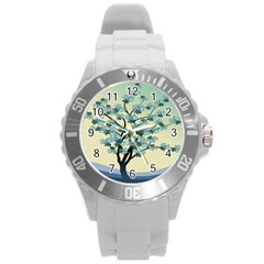 Branches Field Flora Forest Fruits Round Plastic Sport Watch (l)