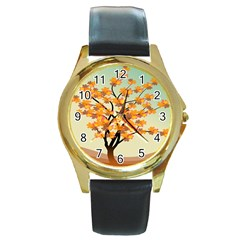 Branches Field Flora Forest Fruits Round Gold Metal Watch