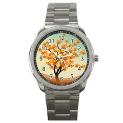 Branches Field Flora Forest Fruits Sport Metal Watch