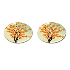 Branches Field Flora Forest Fruits Cufflinks (oval) by Nexatart