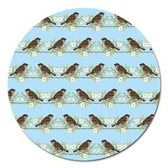 Sparrows Magnet 5  (round) by SuperPatterns