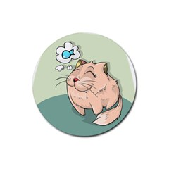 Cat Animal Fish Thinking Cute Pet Rubber Coaster (round)  by Nexatart