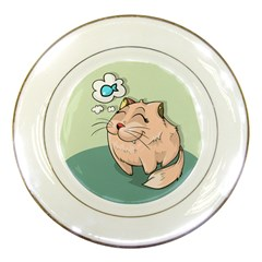 Cat Animal Fish Thinking Cute Pet Porcelain Plates