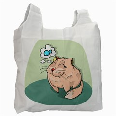 Cat Animal Fish Thinking Cute Pet Recycle Bag (one Side) by Nexatart