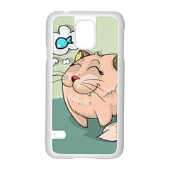 Cat Animal Fish Thinking Cute Pet Samsung Galaxy S5 Case (white) by Nexatart