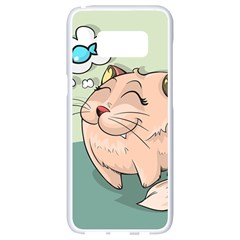 Cat Animal Fish Thinking Cute Pet Samsung Galaxy S8 White Seamless Case