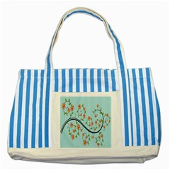 Branch Floral Flourish Flower Striped Blue Tote Bag