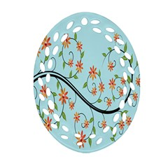 Branch Floral Flourish Flower Oval Filigree Ornament (two Sides)