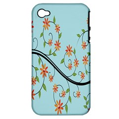 Branch Floral Flourish Flower Apple Iphone 4/4s Hardshell Case (pc+silicone)