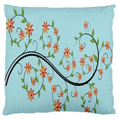 Branch Floral Flourish Flower Large Flano Cushion Case (two Sides) by Nexatart