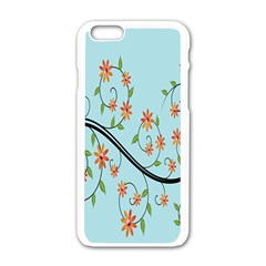 Branch Floral Flourish Flower Apple Iphone 6/6s White Enamel Case