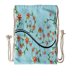 Branch Floral Flourish Flower Drawstring Bag (large) by Nexatart