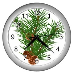 Branch Floral Green Nature Pine Wall Clocks (silver)  by Nexatart