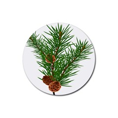 Branch Floral Green Nature Pine Rubber Coaster (round)  by Nexatart