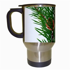 Branch Floral Green Nature Pine Travel Mugs (white) by Nexatart