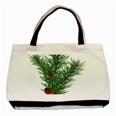 Branch Floral Green Nature Pine Basic Tote Bag by Nexatart