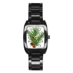Branch Floral Green Nature Pine Stainless Steel Barrel Watch by Nexatart