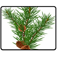 Branch Floral Green Nature Pine Double Sided Fleece Blanket (medium)