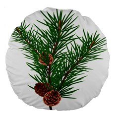 Branch Floral Green Nature Pine Large 18  Premium Flano Round Cushions