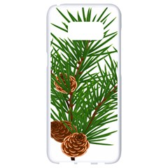 Branch Floral Green Nature Pine Samsung Galaxy S8 White Seamless Case by Nexatart