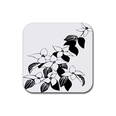 Ecological Floral Flowers Leaf Rubber Square Coaster (4 Pack)  by Nexatart
