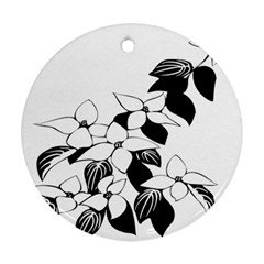 Ecological Floral Flowers Leaf Round Ornament (two Sides)