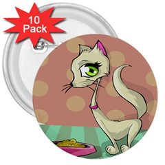 Cat Food Eating Breakfast Gourmet 3  Buttons (10 pack)