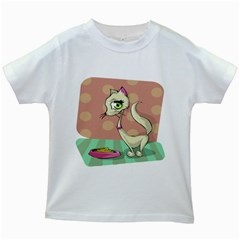 Cat Food Eating Breakfast Gourmet Kids White T-Shirts