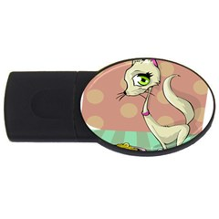 Cat Food Eating Breakfast Gourmet Usb Flash Drive Oval (2 Gb) by Nexatart