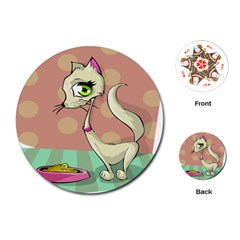 Cat Food Eating Breakfast Gourmet Playing Cards (Round)