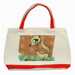Cat Food Eating Breakfast Gourmet Classic Tote Bag (red) by Nexatart