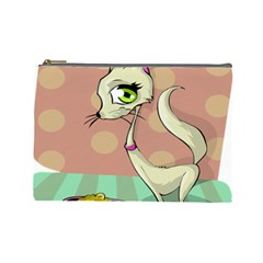 Cat Food Eating Breakfast Gourmet Cosmetic Bag (large)
