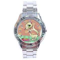 Cat Food Eating Breakfast Gourmet Stainless Steel Analogue Watch