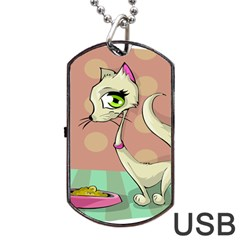 Cat Food Eating Breakfast Gourmet Dog Tag USB Flash (One Side)