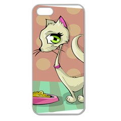 Cat Food Eating Breakfast Gourmet Apple Seamless iPhone 5 Case (Clear)