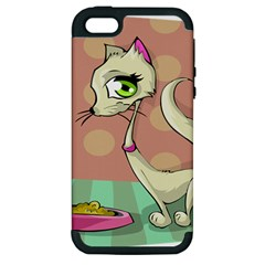 Cat Food Eating Breakfast Gourmet Apple iPhone 5 Hardshell Case (PC+Silicone)