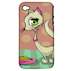 Cat Food Eating Breakfast Gourmet Apple iPhone 4/4S Hardshell Case (PC+Silicone)