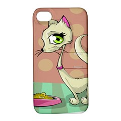 Cat Food Eating Breakfast Gourmet Apple iPhone 4/4S Hardshell Case with Stand