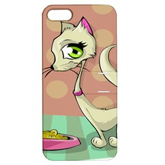 Cat Food Eating Breakfast Gourmet Apple iPhone 5 Hardshell Case with Stand