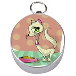 Cat Food Eating Breakfast Gourmet Silver Compasses Front