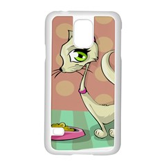 Cat Food Eating Breakfast Gourmet Samsung Galaxy S5 Case (White)