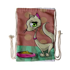 Cat Food Eating Breakfast Gourmet Drawstring Bag (small) by Nexatart