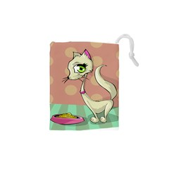 Cat Food Eating Breakfast Gourmet Drawstring Pouches (XS)