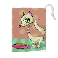 Cat Food Eating Breakfast Gourmet Drawstring Pouches (Extra Large)