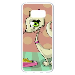 Cat Food Eating Breakfast Gourmet Samsung Galaxy S8 Plus White Seamless Case