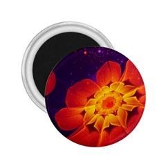 Royal Blue, Red, And Yellow Fractal Gerbera Daisy 2 25  Magnets by jayaprime