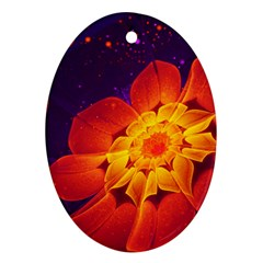 Royal Blue, Red, And Yellow Fractal Gerbera Daisy Ornament (oval) by jayaprime
