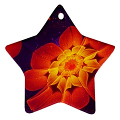 Royal Blue, Red, And Yellow Fractal Gerbera Daisy Ornament (star) by jayaprime